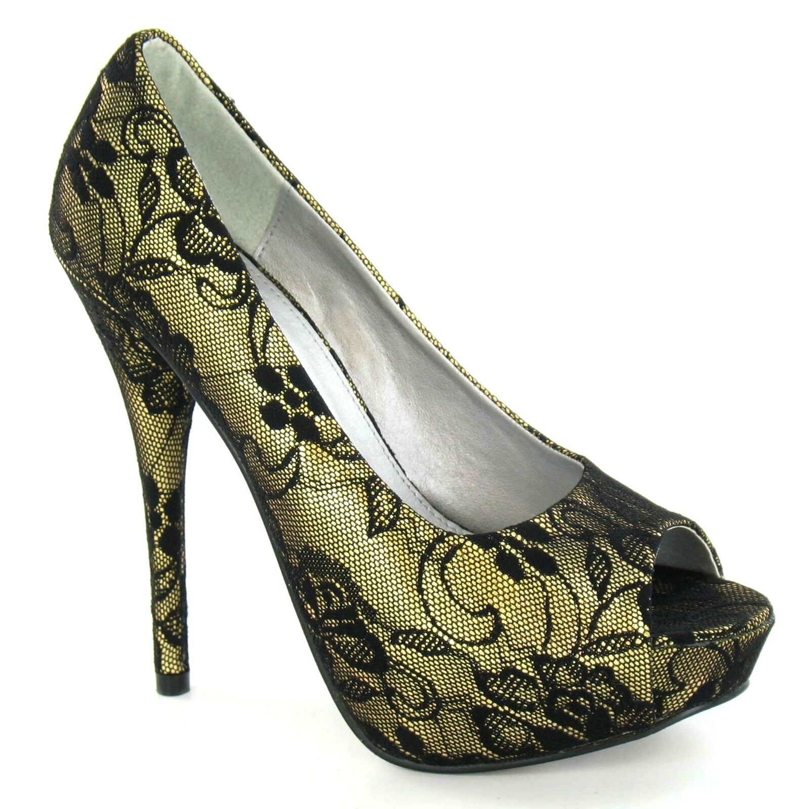 "Moda jest prosta i niedroga *SALE* Ladies Gold Lace Covered 5"" Stileto Heeled Court Shoes. Spot On F1759"