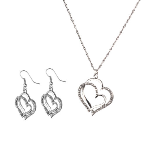 Double Heart Romantic Crystal Earrings and Necklace Set Women Fashion Jewelry SA