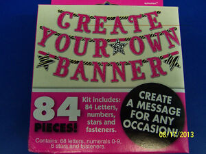 pink zebra create your own banner jointed letter birthday party