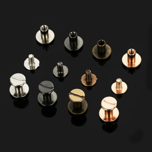 Flat Belt Screw 5//6.5//8mm Leather Craft Chicago Nail Bolt Solid Rivet Stud Head