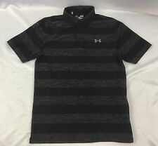Under Armour Men Athletic Golf Polo Loose Heat Gear Black Stripes 1291346 Size M