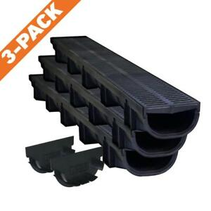 Trench-Channel-Drain-Kit-Low-Flow-Profile-Compact-Landscape-Drainage-Outdoor-NEW
