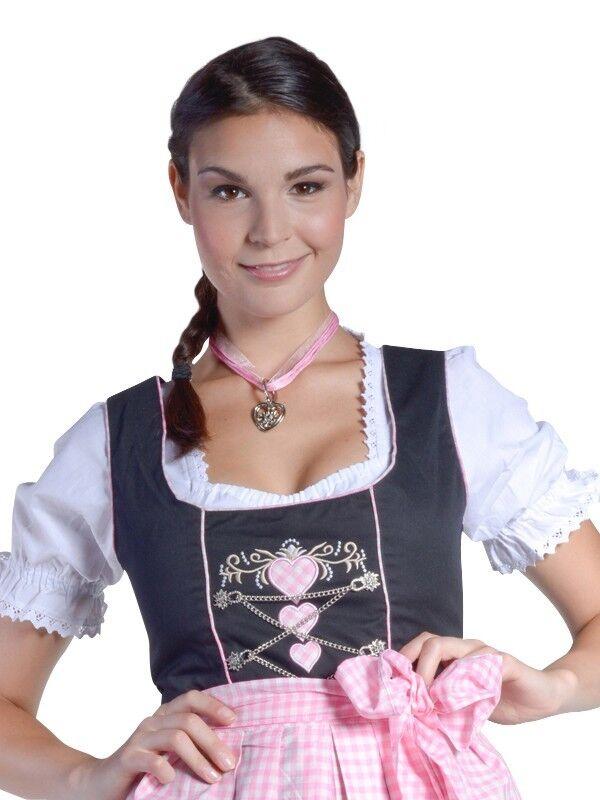MIDI-Dirndl Schwarz Rosa Rosa Rosa Weiß mit HERZEN Blause Schürze 32-46 Trachtenkleid neu 681e7e