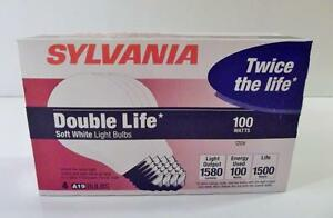 NOS-4-Pack-SYLVANIA-100W-DOUBLE-LIFE-Soft-White-Light-Bulbs-1500-Hrs-Per-Bulb