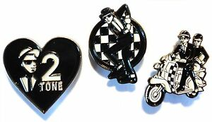 MOD-Scooterist-Enamel-Badge-Set-Love-2-Tone-Ska-Couple-On-Scooter-amp-Dancing-Man