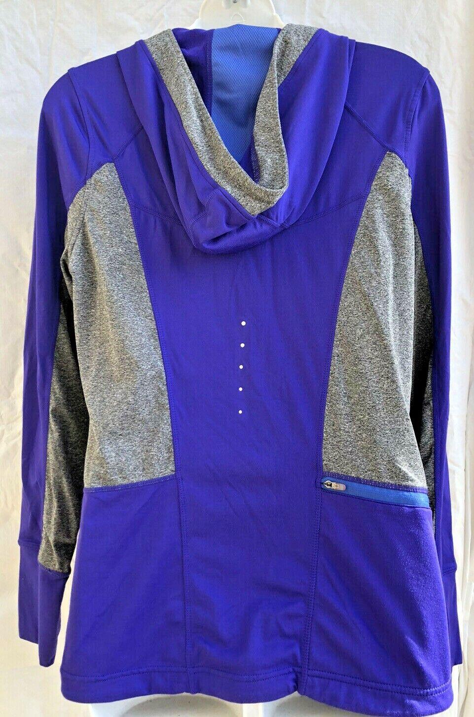 Women's Athletic Hoodie MONDETTA LARGE purple Long Sleeve Running Jacket (ra71)