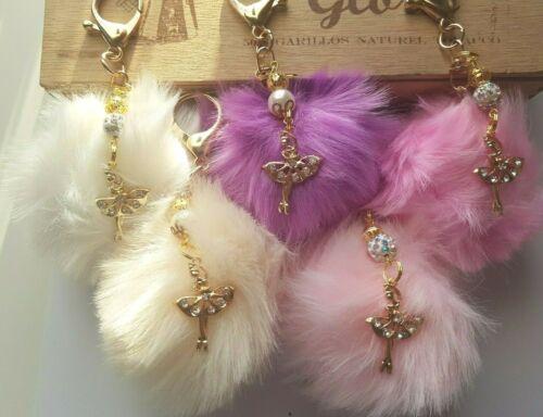 Personnalisé Ballerine pom-pom Porte-clés-Asstd perles-plaqué or-Initiale 5 couleurs