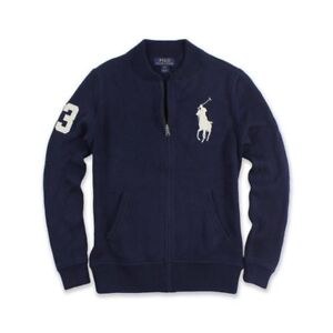 Details about NEW Polo Ralph Lauren Boys Big Pony Full zip Sweater Cardigan jacket Navy L