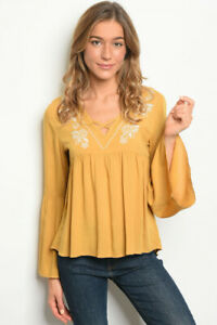 New-Boho-Hippie-Mustard-Embroidered-Western-Bell-Sleeve-Blouse-Top-S-M