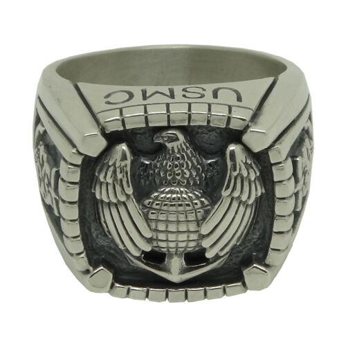 Águila de plata esterlina 925 Marine Corps Ejército USMC Cráneo Biker MENS anillo tamaños de EE UU.