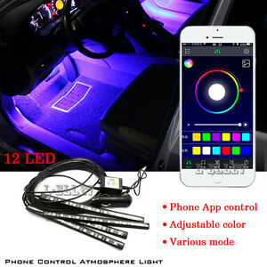 New 12 LED Car Decorative Lights Interior Foot Mood Light With Phone