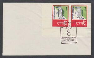 Paraguay-Sc-624-on-1961-FDC-75c-EUROPA-corner-pair-imperf-at-bottom-error