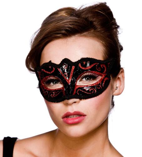Karneval Fasching Maske Gesicht Verona Augenmaske schwarz-rot NEU