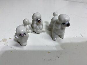 Vintage Mid Century Miniature White Poodles Set Of 3 China Porcelain Figurines