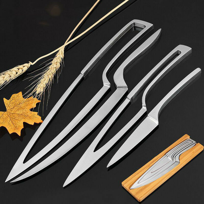 Chef Knife Stainless Steel Set 4pcs Portable Knives Kitchen Tools Set Taille 335mm