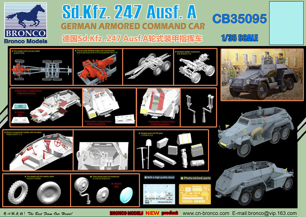 Bronco CB35095 1 35 German Sd.kfz.247 Ausf. A Armored Command Car model kit