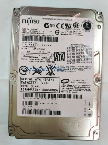"1 of 1 - Fujitsu 60 GB,Internal,5400 RPM,6.35 cm (2.5"") (MHV2060BH) Notebook hard drive"