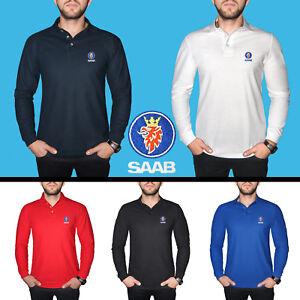 SAAB-Long-Sleeve-Polo-T-Shirt-COTTON-EMBROIDERED-Auto-Car-Logo-Mens-Clothing