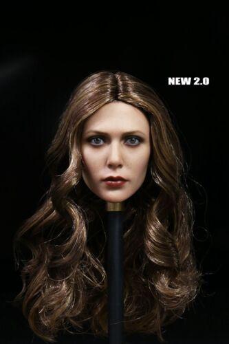 """1//6 Elizabeth Olsen Scarlet Witch Long Curl Hair Female Headsculpt F 12/"""" Figure"""