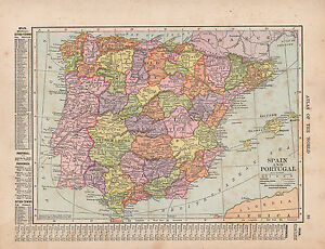 MAP SPAIN PORTUGAL WITH CITIESTOWNS OLD CASTILE - Portugal estremadura map