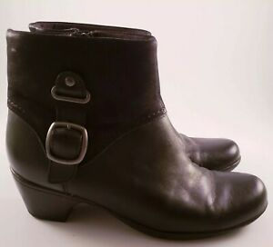 clarks black leather ankle boots women's size 9 zip