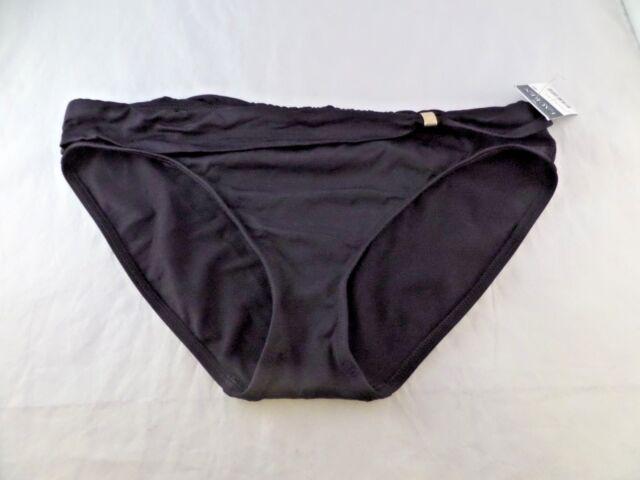 dfe641c834356 NWT Women's Ralph Lauren Beach Club Ruched Sash Hipster Bikini Gold sz 6  Black