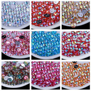50Pcs-Round-DIY-Sew-On-Acrylic-2Holes-Crystal-FlatBack-Colorized-AB-Loose-Bead