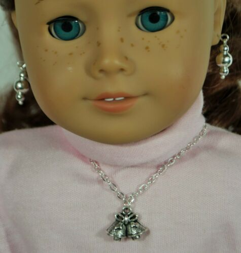 "Necklace Christmas Bell Earring Jewelry for 18/"" American Girl Doll Accessory 324"