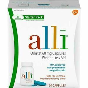 alli Diet Weight Loss Supplement Pills, Orlistat 60mg, 60 Capsules Starter Pack