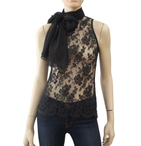 LORENA CONTI Sleeveless Black Stretch Lace Scarf Tie Blouse Top