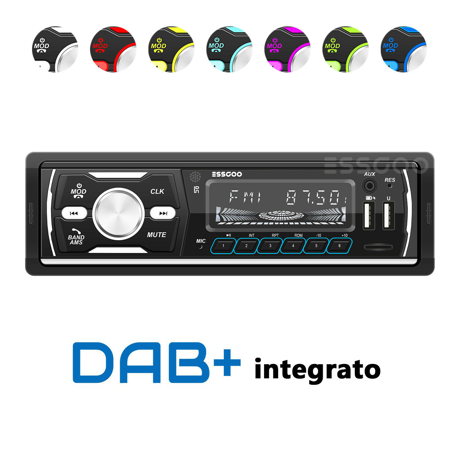 autoradio: DAB+ Autoradio Bluetooth 1 DIN MP3 Lettore AM FM RDS MULTICOLORE USB SD AUX DAB