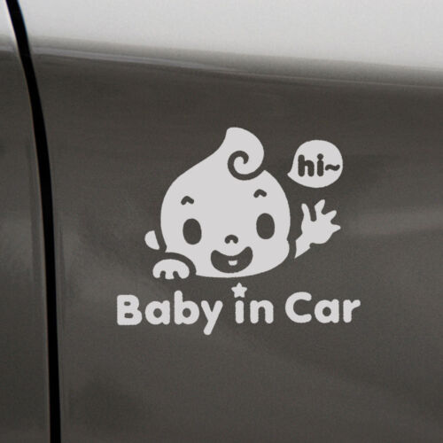 """/""""Baby In Car/"""" Waving Baby on Board Safety Sign Car Decal PET Funny Cute Sticker"""