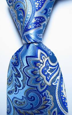 New Classic Checks Baby Blue White JACQUARD WOVEN 100/% Silk Men/'s Tie Necktie