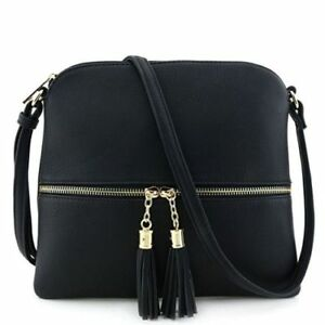 Faux Tassel Accent New Cross Front Pocket Body Leather Medium Deluxity Size NOwvmn0y8P