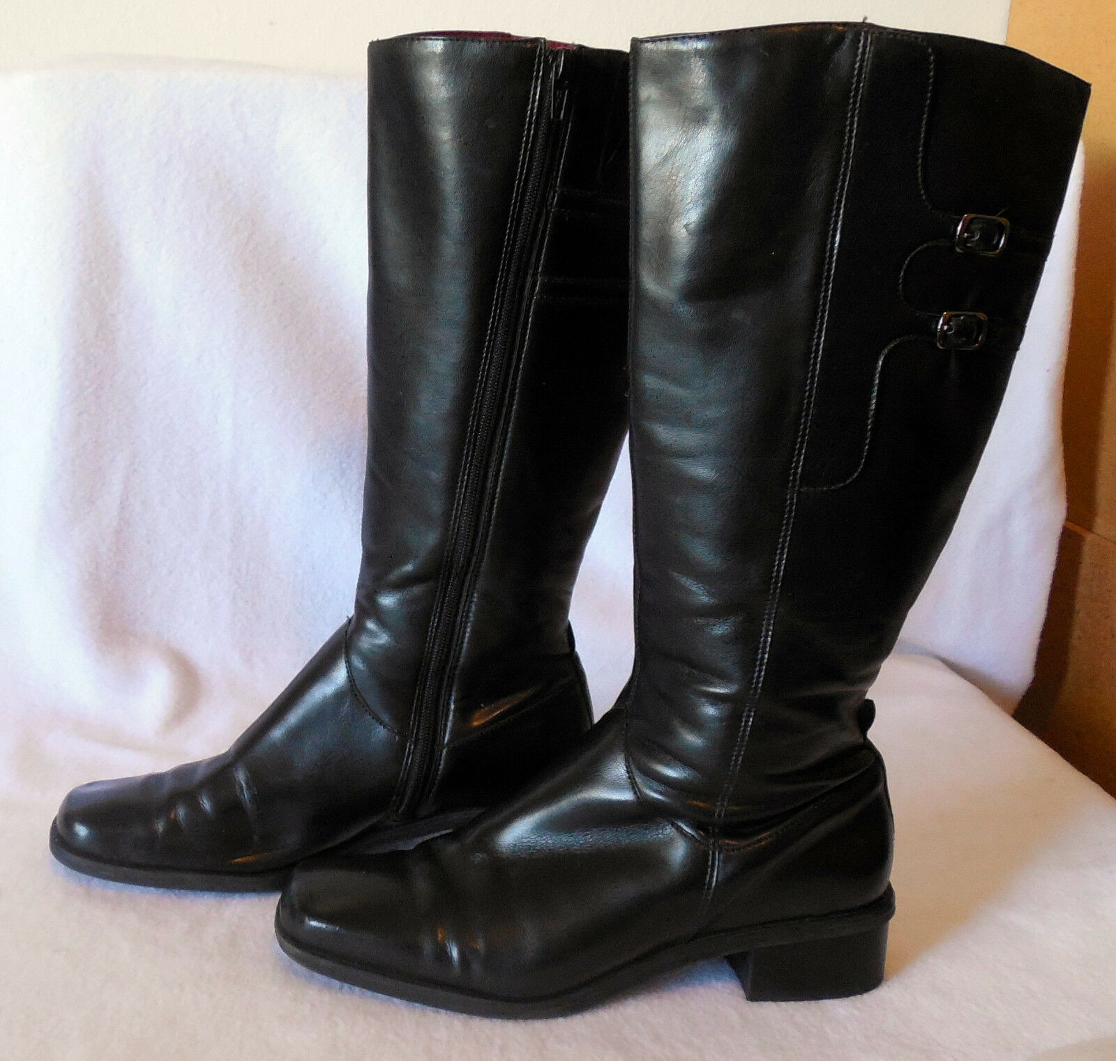 NATURALIZER Ladies size 7.5M leather BOOTS SHOES knee high L158