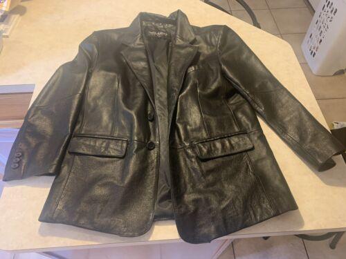 Wilsons Leather Black Blazer Jacket Mens Lg