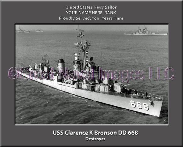 USS Clarence K Bronson DD 668 Personalized Canvas Ship Photo Print Navy Veteran