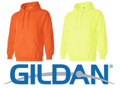 12 HOODED SWEATSHIRTS 6 SAFETY GREEN 6 SAFETY ORANGE BULK LOT S-XL Gildan Hoodie