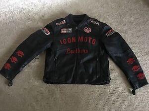 Chaqueta Visto Moto Hombre Para Xxxl Genuino Cuero Motocicleta Icon xazYYf