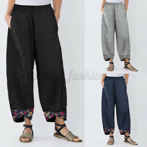 Mode-Femme-Pantalon-Long-Floral-Ample-Taille-elastique-Jambe-Large-Harem-Pants