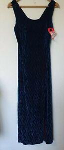 Vintage-90s-nuevo-aspecto-Verde-Azulado-tritura-Terciopelo-Pierna-Split-Abstracto-Vestido-Talla-16