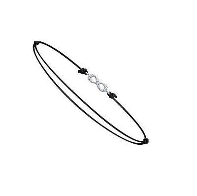 Bracelet Cordon noir Symbole Infini INFINITY + Zirco Bijoux en ARGENT  NEUF