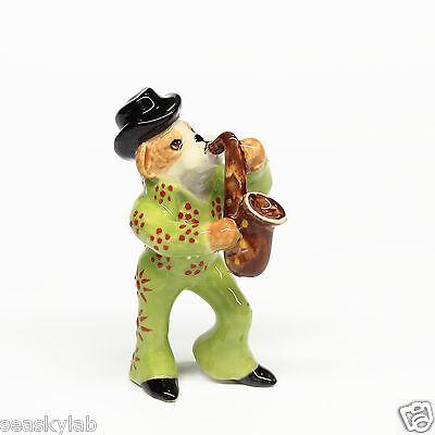 Animals Ceramic Bulldog Dog Elvis Presley Playing Saxophone Music Hand painted