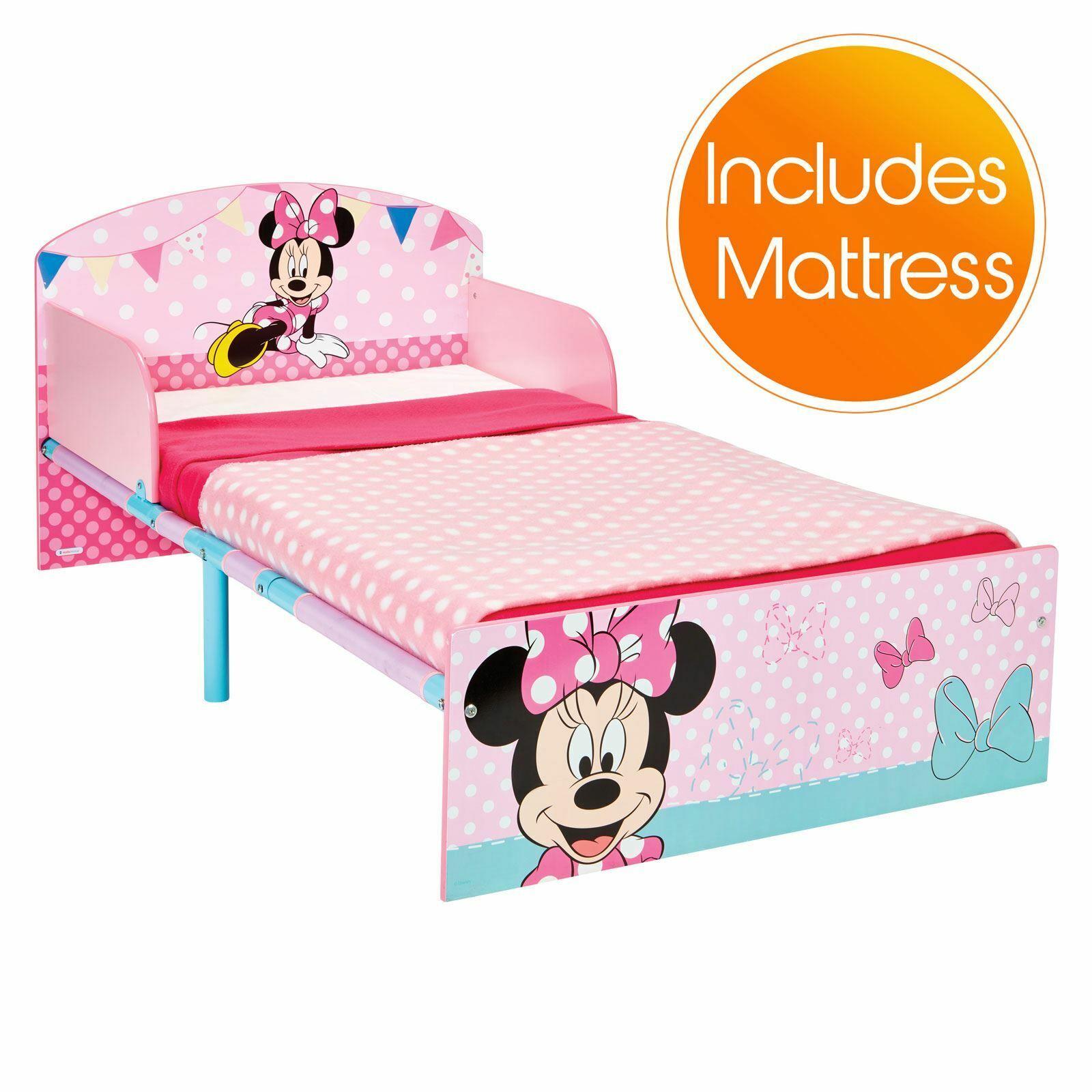 Minnie Mouse Lit Enfant Bébé avec Matelas ComplèteHommest à Ressort - Rose
