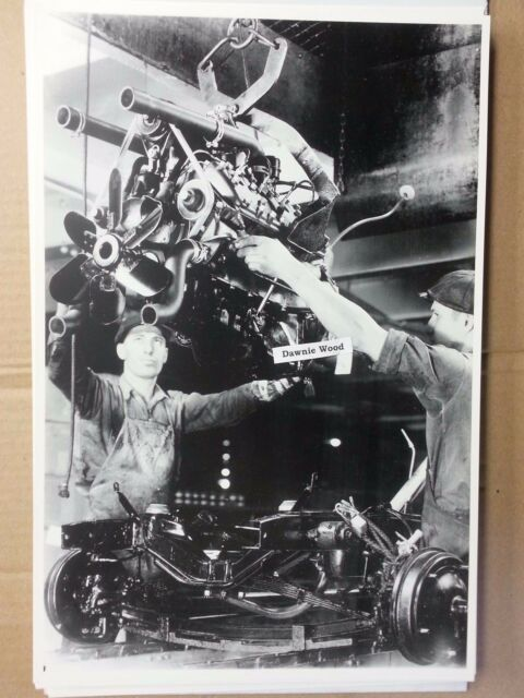 "1939 Ford assembly line engine to  frame 12X18"" Black & White Picture"