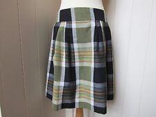 MARGARET HOWELL checked wool/linen softly pleated skirt - UK12