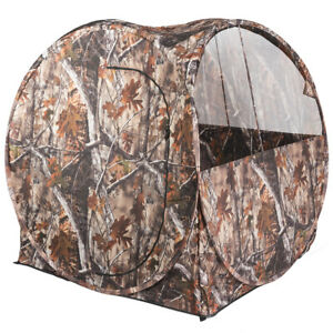 Portable-Hunting-Tent-Blind-Waterproof-Camouflage-Ground-Blind-w-Mesh-Window