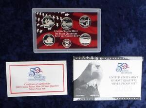2005-S-U-S-Mint-Silver-Proof-State-Quarter-Set-Box-amp-COA-Oregon-Kansas-CA