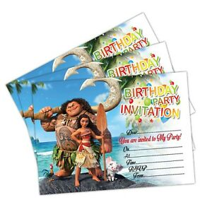 Image Is Loading Disney Moana Invitations Birthday Party Invites Cards Kids