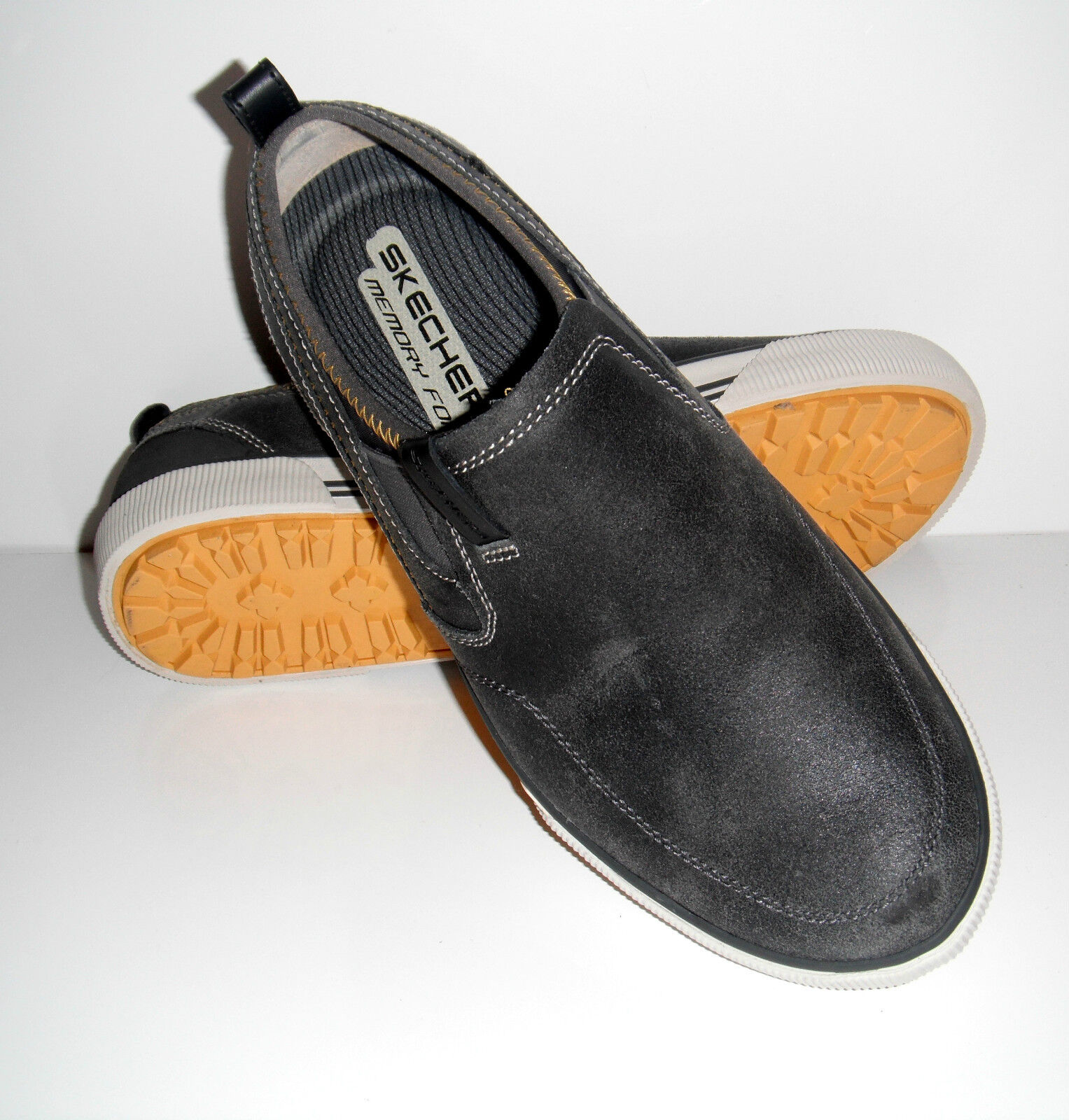 New Skechers Uomo Talon Charcoal Slip On Distressed Pelle Loafers Shoes sz 8